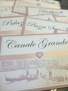 Venice themed wedding table name with ribbon and diamanté heart using luxury peach pearlescent card. Handmade by Perfect Day Weddings. See more at www.perfectday-weddings.co.uk