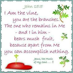 John (ESV) 5 I am the vine; you are the branches. Whoever abides in me and I in him, he it is that bears much fruit, for apart from me you can do nothing. Daily Scripture, Scripture Reading, Bible Quotes, Bible Verses, Holy Spirit Come, Love Scriptures, Jesus Lives, Unique Words, Daily Bread