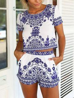 Blue,Tile Print,Short Sleeve,Crop Top,Shorts,Floral,Navy,Two Piece Suit, Two Piece Set