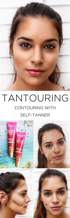 Tantouring Tips for summer: How to contour using Sublime Bronze Wash-Off Face Bronzer Cream with SPF 20.