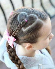 Heart hair part with braid. Heart hair part with braid. Little Girl Hairdos, Hairdos For Short Hair, Cute Hairstyles For Kids, Cute Girls Hairstyles, Kids Braided Hairstyles, Heart Hairstyles, Beautiful Hairstyles, Braided Ponytail, Teenage Hairstyles
