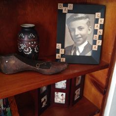 Found an old picture of my dad when he was young! He loved to reuse stuff! Added some scrabble game pieces with his names! Perfect family memory!