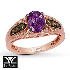 Le Vian Amethyst Ring 1/4 ct tw Diamonds 14K Strawberry Gold