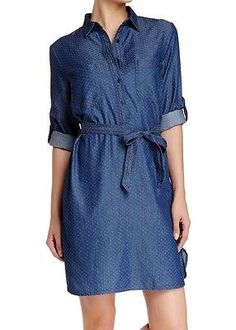 Max Studio NEW Blue Print Women's Size Small S Denim Shirt Dress $128 DEAL #324