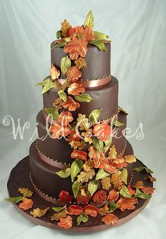 fall leaves cake,  i dont want shining leaves, like these. i want some more nature tones.