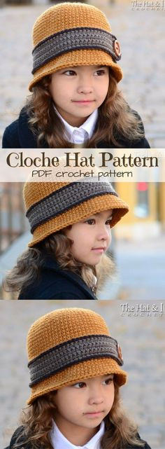 Such a cute hat pattern! Classic Cloche Hat for girls, or fold the rim and it's … Such a cute hat pattern! Classic Cloche Hat for girls, or fold the rim and it's a bowler hat for boys! So fantastic! What a great idea! Can be made in sizes infant to adult! Crochet Kids Hats, Crochet For Boys, Crochet Clothes, Diy Crochet Infant Hat, Girl Crochet Hat, Childrens Crochet Hats, Crochet Adult Hat, Crocheted Hats, Bonnet Crochet