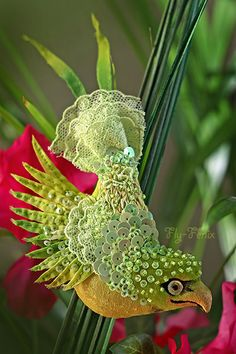 """Miniature hand painted natural silk and cotton beaded textile 'LIME' brooch from the """"Birds of Paradise"""" series  ....................................................................................... by Julia Gorina"""