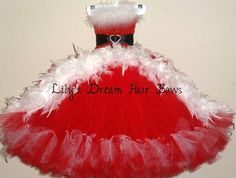 christmas tutu dress christmas red and white by LilysDreamHairBows