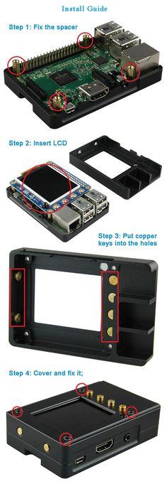 """Aluminum Enclosure / Case Box + 2.2"""" High PPI TFT LCD Kit for Raspberry Pi 2 Model B / B+ - Black - Free Shipping - DealExtreme"""