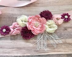 Red Pink Flower Sash Maternity Sash Belly Belt Sash Plum and Pink Baby Shower Reveal Party Sash