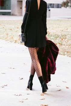 Miller Affect wearing polka dot tights and tall black booties Tights Outfit Winter, Black Tights Outfit, Black Dress Outfits, Winter Dress Outfits, Outfits With Tights, Polka Dot Tights, Patterned Tights, Polka Dot Outfit, Polka Dots