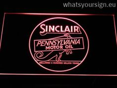 Sinclair Motor Oil - Neon sign LED display made of the premium quality clear plastic and briliant colorful LED lighting. The neon sign looks exactly the same from all angles thanks to the carving with the latest 3D laser engraving process. This LED neon sign is a great gift idea! The neon is provided with a metal chain for displaying. Available in 3 sizes in following colours: Orange, Green, Red, Purple, Blue, Yellow and White!