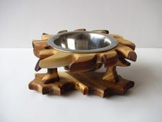 stained from head to tail this free standing pet bowl stand is carefully handcrafted to details the height of stand is 11 and 19 cm bowl diametu2026