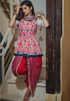 Off White And Red Dhoti Kediyu    #offwhite   #embroidery #indowestern #dhoti  #navratrispecial