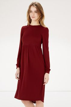 Dresses | Red Crepe Midi Dress | Warehouse