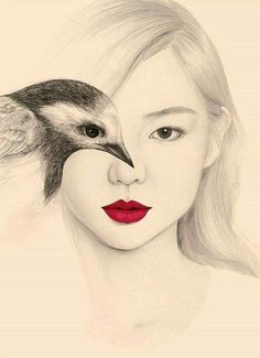 I love the way the bird drawing interacts with the face. Beautiful use of monochrome with the single touch of red in the lips.