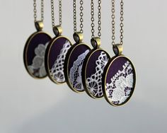 Bridesmaid Set of 5 Necklaces, Bridesmaid Necklaces Custom Wedding Jewelery, Gold Purple Wedding Lace Necklace Personalized Bridal Jewelry