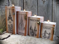 Wooden candlesticks with four European capitals