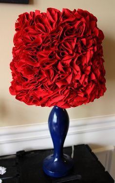 Excited to share this item from my shop: Red Ruffled Lamp Shade Ruffles Lampshade very beautiful or Custom make one with a color of your choice. Ruffle Lamp Shades, Blue Lamp Shade, Blue Spray Paint, Ariel Hair, Teal Fabric, Fabric Lampshade, Oriental Design, Step By Step Painting, Modern Artwork