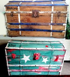 refurbished pirates chest using chalkboard paint