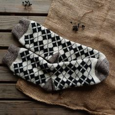 Warm wool socks with abstract ornament for man by 2woolhearts on Etsy