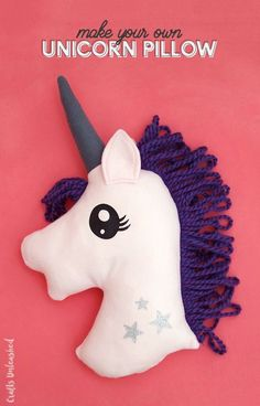 Learn how to make your own unicorn DIY fleece pillow! This simple little craft is magically cute and easy to make with my free pattern.