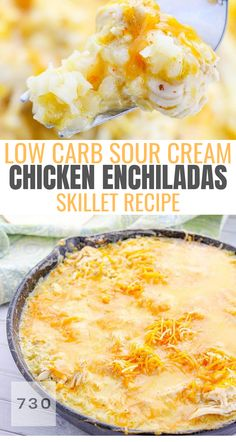 Oh this low carb and keto friendly chicken enchilada skillet recipe is so easy and delicious you won't even miss the tortilla! Oh this low carb and keto friendly chicken enchilada skillet recipe is so easy and delicious you won't even miss the tortilla! Low Sugar Recipes, Low Carb Chicken Recipes, Healthy Low Carb Recipes, Low Carb Dinner Recipes, Ketogenic Recipes, Mexican Food Recipes, Keto Recipes, Ketogenic Diet, Dessert Recipes