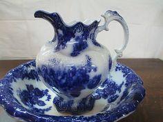 Rare Flow Blue Bowl & Pitcher .. marked.