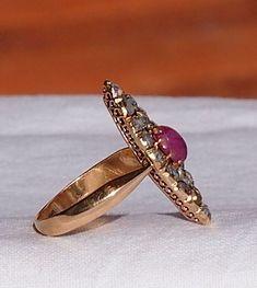 0.9 ctw Rose Cut Diamonds 14K Gold  Antique Marquise Ring