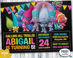 Trolls Invitation Trolls Birthday Trolls by PrintBubbleInvites