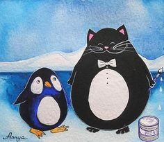Black Cat and Penguin by Annya Kai