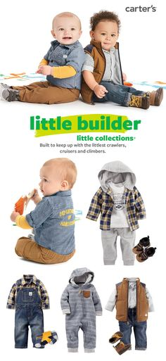 Shop Carter's little builder collection now! He'll be handsome in these easy outfit sets with extra little details like appliqué, cute pockets, soft chambray and the fun puffer vest.