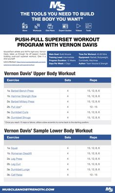 (Click through to download PDF!) MuscleTech athlete and All-Pro tight end, Vernon Davis, takes us through his offseason muscle building push-pull superset workout. Give it a shot yourself!