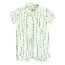 Organic Cotton Striped Playsuit Green