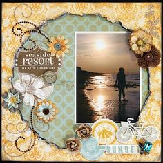 Sunset at the Beach Page...torn papers & embellishments.