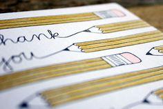 Thank You Pencil Letterpress Card par 1canoe2 sur Etsy