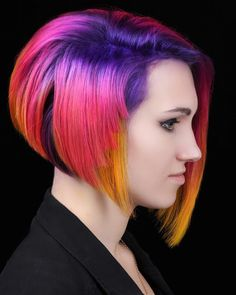 Parrot Bob Beautiful Hair Color, Cool Hair Color, Hair Colors, Badass Beard, Natural Hair Styles, Long Hair Styles, Inverted Bob, Beauty Regimen, Rainbow Hair
