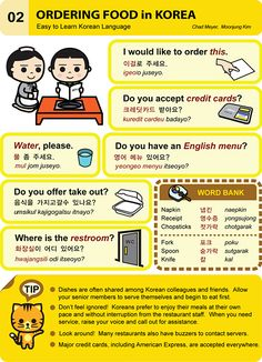 Learn Korean/Hangeul - ordering food in Korea