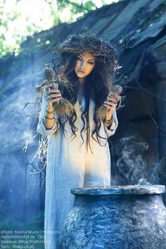 A witch and her cauldron
