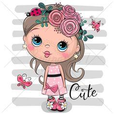 Girl Cartoon Characters, Cute Cartoon Girl, Cute Characters, Cartoon Drawings, Cartoon Art, Cute Drawings, Easter Drawings, Baby Dolls, Girls With Flowers