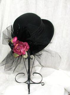Ladies Tea Party Hats | ... Style Victorian Black Hat Ladies Hat Womens Tea Party Kentucky Derby