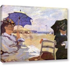 Claude Monet The Beach Gallery-Wrapped Canvas, Size: 14 x 18, Yellow