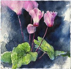 Purple cyclamen watercolor original purple flower painting