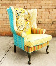 I love this idea for recovering a traditional wingback in funky fabrics- what a great idea!!!
