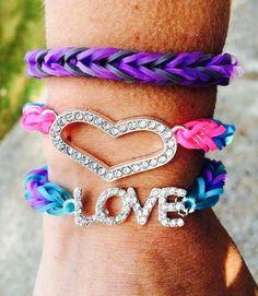 Rainbow loom fishtail bracelets with charm   10 Of The Most Creative Rainbow Loom Ideas