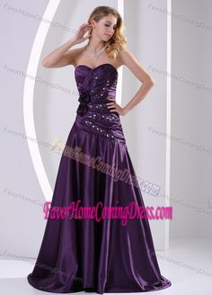 Purple Taffeta for A-Line Simple Prom Homecoming Dresses with Ruching