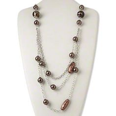 Necklace, silver- and copper-coated plastic / silver-finished steel / plastic, brown, 32 inches with 2-inch extender chain and lobster claw clasp. Sold individually.