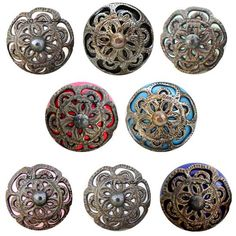 Beautifully carved, hand painted traditional ceramic knobs in antique finish with cool and bright base colors only at Indian shelf.
