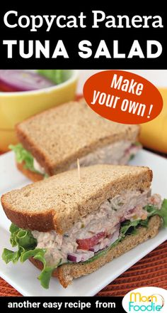 Copycat Panera Tuna Salad Sandwich Recipe This copycat Panera Tuna Salad recipe will let you make your own sandwiches at home! Tuna Sandwich Recipes, Tuna Fish Recipes, Seafood Recipes, Cooking Recipes, Tuna Salad Sandwiches, Best Tuna Sandwich, Canned Tuna Recipes, Paninis, Good Healthy Recipes