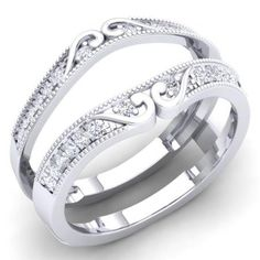 1//4CT Diamond 10K White Gold Wedding Enhancer Band Guard Ring Special Offer !!!